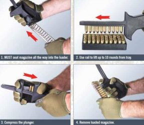 ETS Elite Tactical Systems CAM Universal Speed Magazine Loader works in 4 simple steps