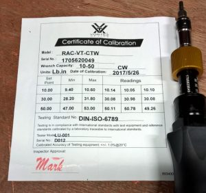 Vortex Scope Torque Wrench Certificate of Calibration
